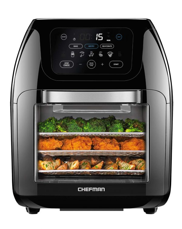 Chefman Multifunctional Digital Air Fryer+ Rotisserie, Dehydrator, Convection Oven, 14 Touch Screen Presets Fry, Roast, Dehydrate & Bake, Auto Shutoff, Accessories Included, XL 10L Family Size, Black