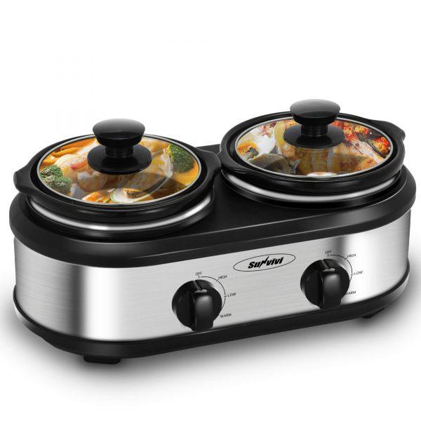 Slow Cooker, Dual Pot Slow Cooker Buffet Server 2 Pot Small Mini Crock Pot Food Warmer, 2-Section 1.25-Quart Oval Slow Cooker Buffet Food Warmer Adjustable Temp Lid Rests Stainless Steel, Total 2.5 QT, Black&Sliver