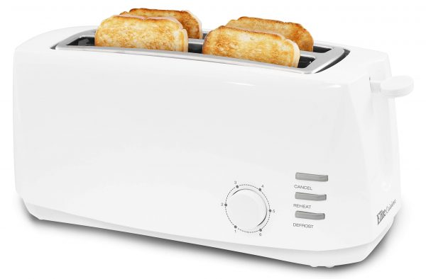 """Elite Gourmet ECT-4829 Long, 6 Toast Settings Toaster Defrost, Reheat, Cancel Functions, Extra Wide 1.25"""" Slots for Bagels Waffles, Slide Out Crumb Tray, 4 Slice, White"""