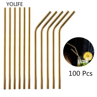 100Pcs/Set Metal Straw Reusable Gold Straws