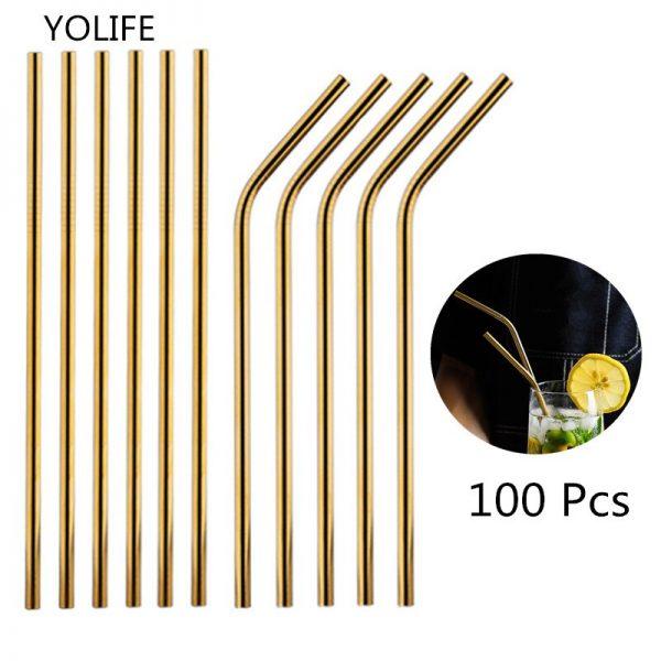 100Pcs/Set Metal Straw Reusable Gold Straws