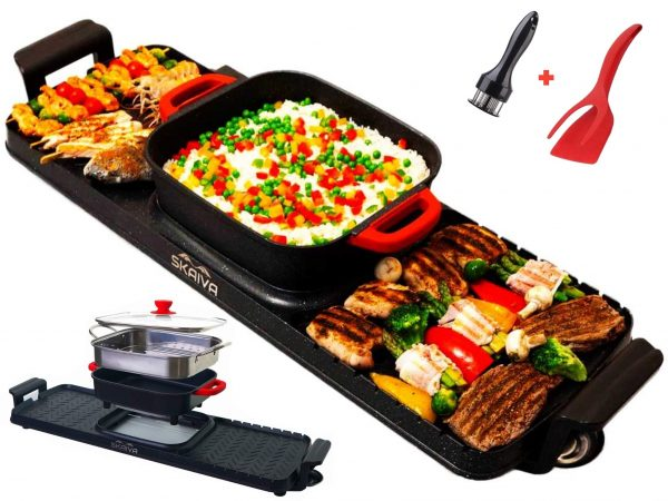 SKAIVA Hot pot with grill - 3 in 1 Multi-functional Electric indoor grill hot pot and steamer - Removable Hot Pot - Smokeless grill indoor, Teppanyaki grill, Detachable Korean bbq shabu shabu hot pot, Kbbq grill, Latest Model extra large for 3 to 12 peopl