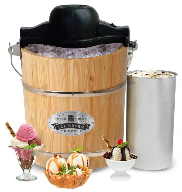 Elite Gourmet Ice Cream Maker, 4-Quart, Pine