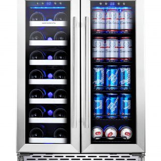24 Inch Built-In Dual Zone Wine Beer Cooler Refrigerator