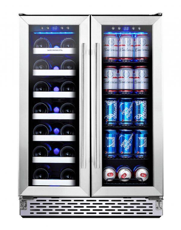 24 Inch Built-In Dual Zone Wine Beer Cooler Refrigerator