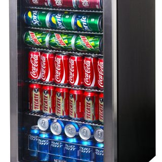 Can Freestanding Beverage Fridge, Stainless Steel