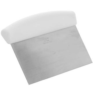 6 x 4-Inch Bench Scraper with White Handle by Tezzorio, Stainless Steel Dough Scraper/Pastry Scraper and Cutter