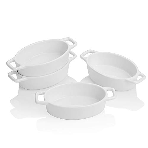 LOVECASA 6.3 inch Porcelain Ramekins, Set of 4 Souffle Dishes, 6 OZ White Oval Ceramic Creme Brulee Baking Ramekin Dishes Bowl with Double Handle, Oven Safe Ramekins Bowls Sauce Dipping Bowls. 5.0 x 3.3 x 1.5 inch
