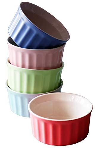 Cestash 6 Oz Ceramic Ramekins - Oven Safe Ramekins for Baking - Porcelain Baking Bowls for Souffle, Creme Brulee, Custard, Lava Cake - Colorful Souffle Dishes (Set of 5)
