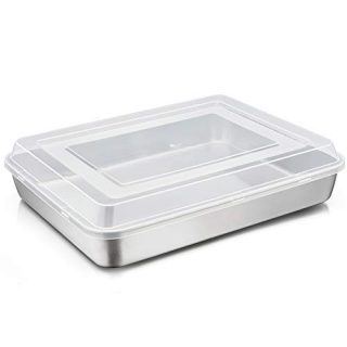 TeamFar Lasagna Pan with Lid, 12⅖'' x 9¾'' x 2'' Stainless Steel Rectangular Cake Brownie Baking Pan with Lid, Heavy Duty & Healthy, Deep & Visible, Brushed Finish & Dishwasher Safe, 2PCS
