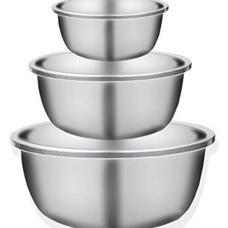 Gereen 3-Piece 18/8 304 Stainless Steel Mixing Bowls,3 Sizes Large Medium Small for Cooking Baking Serving Prepping Food