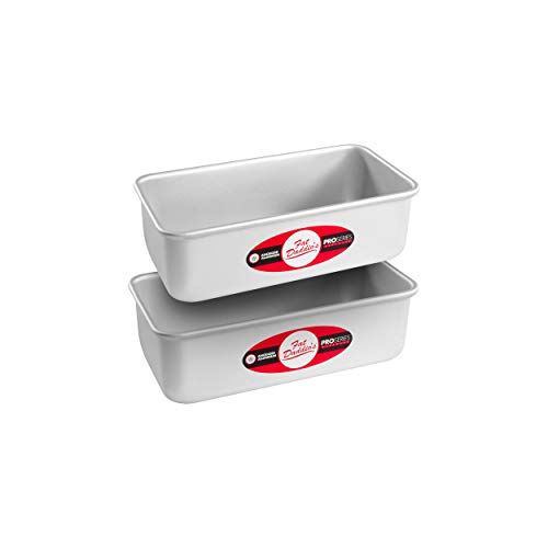 Fat Daddio's Anodized Aluminum Bread Pan, 7.75 x 3.75 x 2.5 Inch, Set of 2, Silver