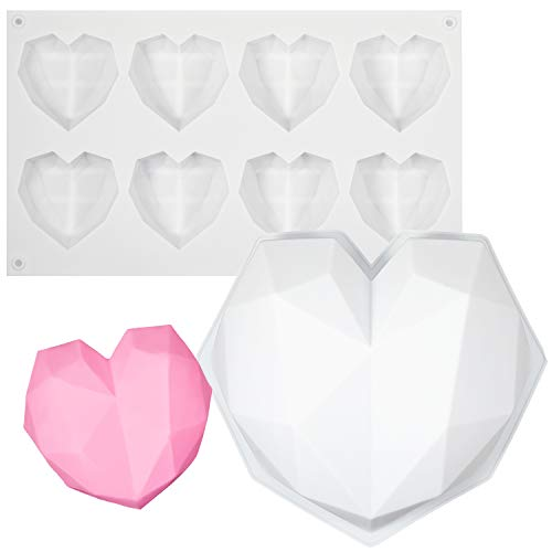 2 Pieces Reusable 3D Diamond Heart Shaped Silicone Molds Non-stick Cake Fondant Molds Chocolate Molds for Baking Cake, Chocolate, French Dessert, Pastry, Brownie, Ice Cube, Soap