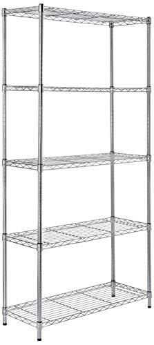AmazonBasics 5-Shelf Adjustable, Heavy Duty Storage Shelving Unit (350 lbs loading capacity per shelf), Steel Organizer Wire Rack, Chrome, (36L x 14W x 72H)