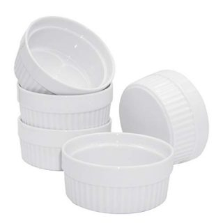 6 Ounce Ramekin Bowl, Set of 5 Porcelain White Round Dessert Bowls Oven Safe Bowl Souffle Dish Ramekins for Baking Salad Ice Cream Desserts (white)