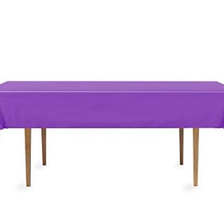 DecorRack 2 Rectangular Tablecloth -BPA- Free Plastic, 54 x 108 inch, Dining Table Cover Cloth Rectangle for Parties, Picnic, Camping and Outdoor, Disposable or Reusable in Purple (2 Pack)