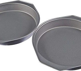 AmazonBasics Nonstick Carbon Steel Round Baking Cake Pan, 9 Inch, Set of 2