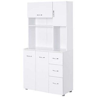 "HOMCOM 66"" Wood Kitchen Pantry Storage Cabinet Microwave Hutch with 4 Large Cabinets & Sleek Modern Design, White"