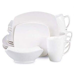 Cutiset 16-Piece Porcelain Square Dinnerware Set, Kitchen Dinner Set with Dinner Plates, Dessert Plates, Soup Bowls, Mugs, Service for 4