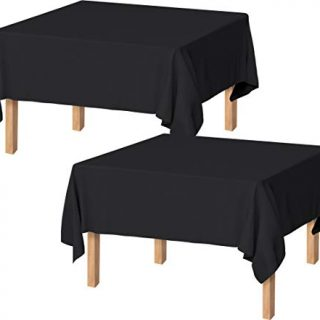 Utopia Kitchen Polyester Tablecloth – 60 x 60 Inches Table Cover - Machine Washable - Great for Parties, Events, Wedding and Restaurants (Pack of 2, Black)