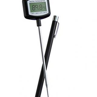 Meat Thermometer - Large LCD Super Long Probe 5.3 Inches Digital Cooking Thermometer with Instant Read and Clip for Kitchen BBQ Grilling Smoker Meat Liquids Candy and Food