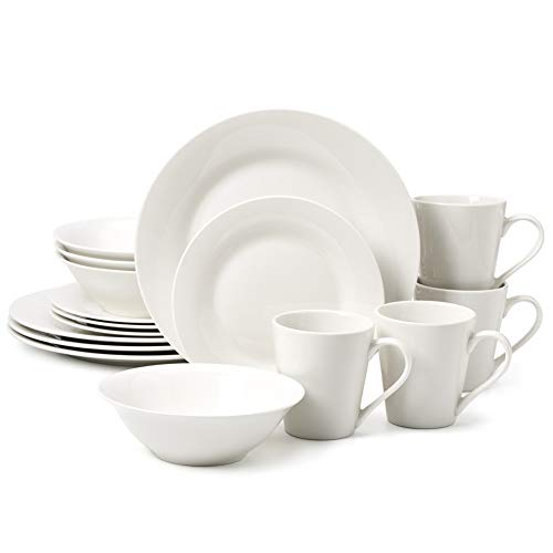 EZOWare Porcelain Dinnerware Set, Classic Kitchen Dishes, Round Dinner Plate, Appetizer Plate, Bowl, Mug, Service for 4, 16 Piece, White