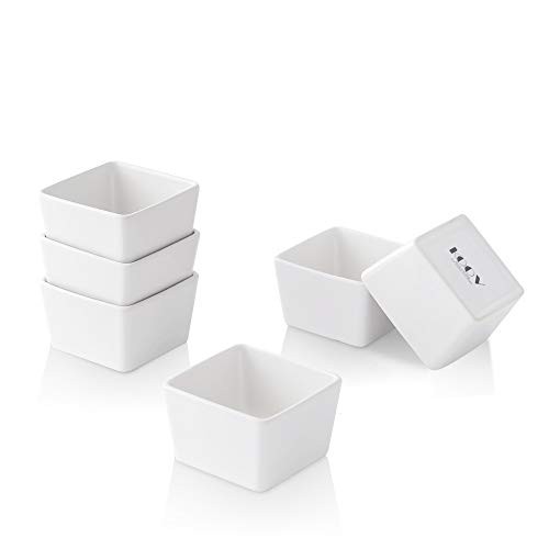 KOOV Porcelain Ramekins Set, 4 Ounce Ramekins for Baking and Cooking, Creme Brulee Dishes, Square Series Set of 6 (White)