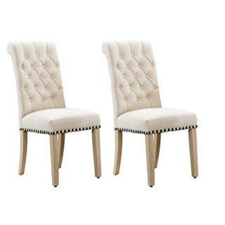 Luxuriour Fabric Dining Chairs,Per-Home upholstered Kitchen Room with Copper Nails and Solid Wood Legs Set of 2 (Beige-Z)