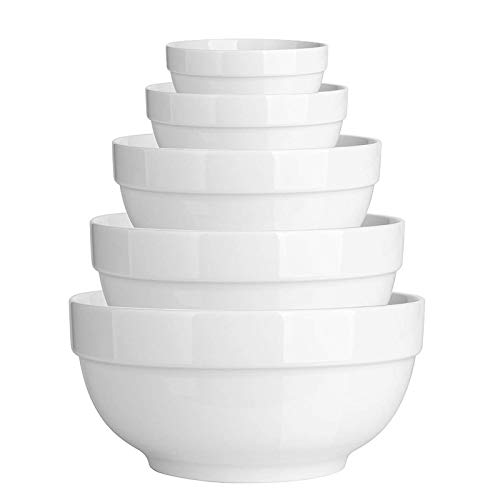 DeeCoo 5 Pcs Ceramic Mixing Serving Bowls Set, White Serving Bowls, Serving Dishes, Large Mixing Bowls, Microwave Safe, Ideal for Cereals, Dessert, Soup, Ice Cream