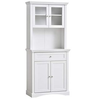 HOMCOM Traditional Freestanding Kitchen Pantry Cabinet Cupboard with Doors, Adjustable Shelving White