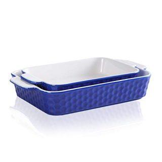 Ceramic Baking Dish, JH JIEMEI HOME Bakeware Set of 2 Piece, Rectangular Baking Pan for Cooking,Cake Dinner,Kitchen,Wrapping Upgrade,Blue