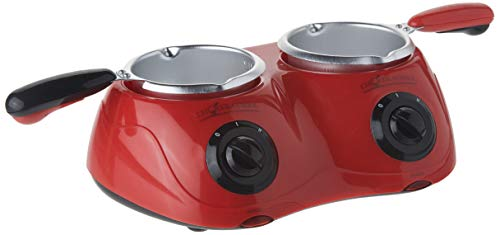 Koolatron CM20 Deluxe Chocolatiere 2 Melting Pots-Fondue Set with 8.8 oz. (250 gm) Capacity-Includes Base Unit and Accessories, Red