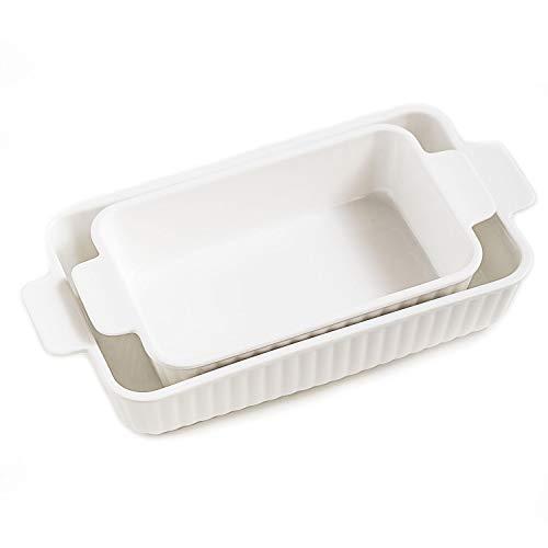 White Ceramic Baking Dish, Rectangular Baking Pans for Cooking