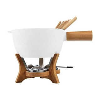 BOSKA Party Fondue Set, 6.5 Liter Stoneware Pot w. Oak Wood Base, 3 Burners, 12 Fondue Forks, Mr Big, Life Collection