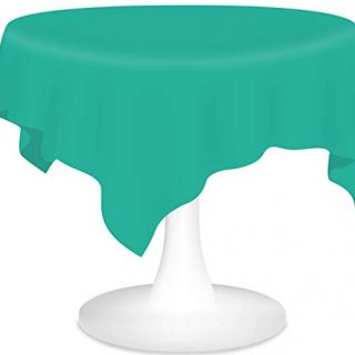 Teal Plastic Tablecloths 6 Pack Disposable Table Covers 84 Inch Circle Shower Party Tablecovers PEVA Vinyl Table Cloths for Round Tables up to 6 ft and Picnic BBQ Birthday Wedding Catering Banquet