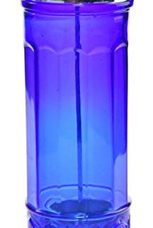 HOME-X Cobalt Blue Glass Straw Dispenser, Straw Holder, Vintage Home Kitchen Accessories, Pop Up Stra Lid Dispenser, Depression Style