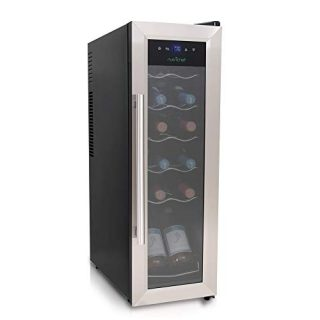 12 Bottle Wine Cooler Refrigerator - White Red Wine Fridge Chiller Countertop Wine Cooler - Freestanding Compact Mini Wine Fridge 12 Bottle w/Digital Control, Stainless Steel Door - NutriChef PKCWC12