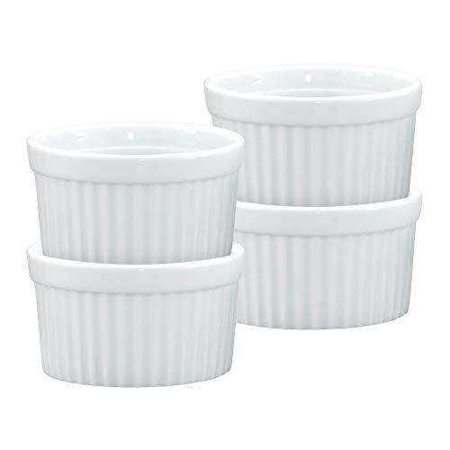 HIC Kitchen Souffle Ramekin Set, Fine White Porcelain, 4-Ounce, Set of 4