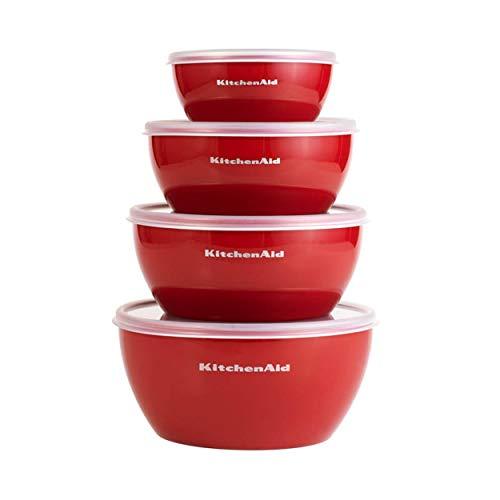 KitchenAid KE176OSERA Classic Prep Bowls with Lids, Set of 4, Empire Red