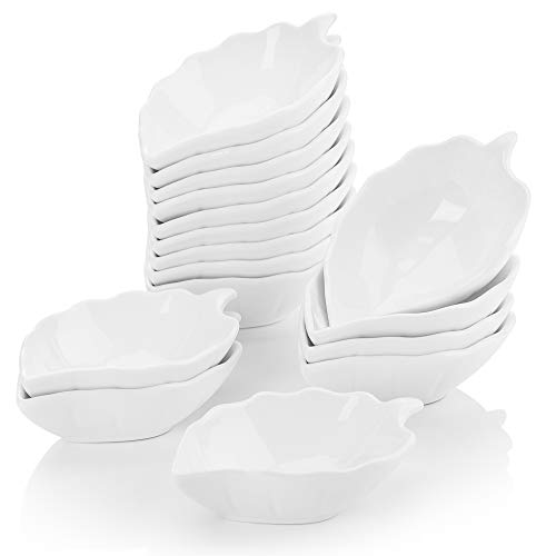 Malacasa 16 Pieces Porcelain Ramekins 6 Ounce for Souffle Baking Dipping Dishes Cups, Ivory White