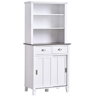 HOMCOM Freestanding Kitchen Pantry Cabinet Cupboard with Sliding Doors and Open Shelves, Adjustable Shelving, White