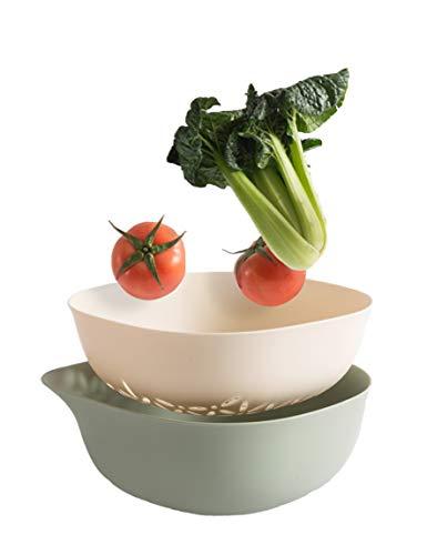 Kitchen Colander 2 in 1 Fruit and Vegetable Strainer Bowl Sets, Detachable Colanders Strainers Set Washing bowl (Green)