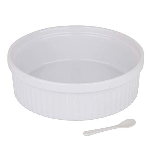 Souffle Dish Ramekins for Baking – 64 Oz, 2 Quart Large Ceramic Oven Safe Round Fluted Bowl with Mini Condiment Spoon for Soufflé Pot Pie Casserole Pasta Roasted Vegetables Baked Desserts (White)