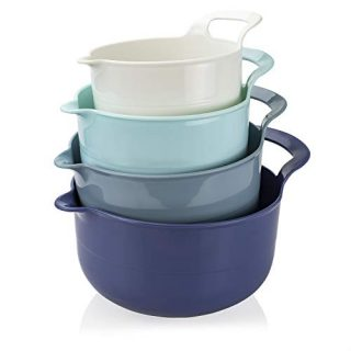 Cook with Color Mixing Bowls - 4 Piece Nesting Plastic Mixing Bowl Set with Pour Spouts and Handles (Ombre Blue)