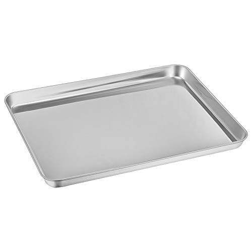 Baking Sheet, E-far Cookie Sheet Baking Tray Pan Stainless Steel Jelly Roll Pan, Non Toxic & Healthy, Rust Free & Mirror Finish, Easy Clean & Dishwasher Safe