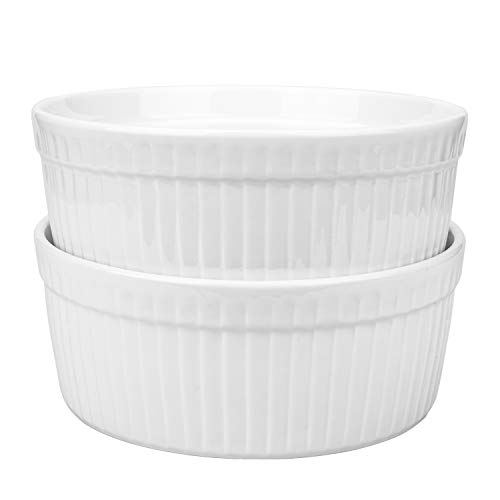 Foraineam 2 Pack Large Porcelain Souffle Ramekins, 48 Ounce, 1.5 Quarts White Bakeware Ramekin Set for Baking, Cooking, Serving and More