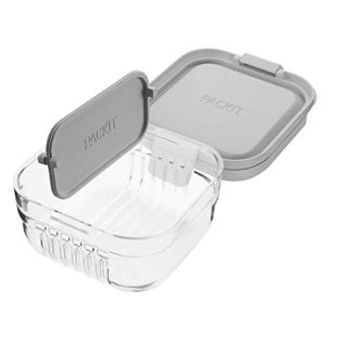 PackIt Mod Snack Bento Food Storage Container, Steel Gray