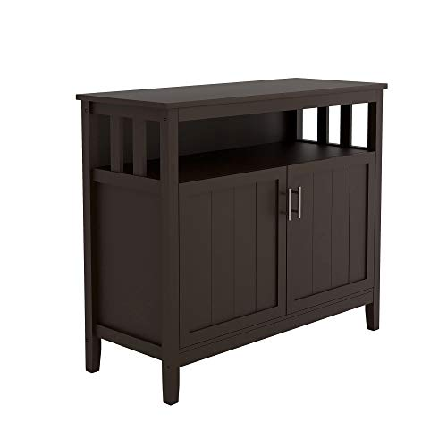 Kitchen Sideboard Storage Cabinet Large Dining Buffet Server Cupboard Cabinet with Display Shelf and Double Doors (Brown)