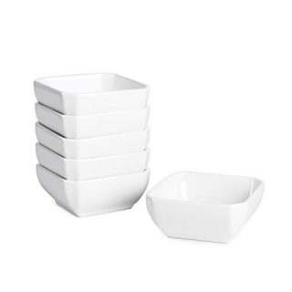 Porcelain Ramekins Bowls-Delling 6 OZ Souffle Dish - Ramekins Set for Pudding, Creme Brulee, Ice Cream, Snack, Bakeware Cups Set for Baking and Cooking -Oven Safe Set of 6 White