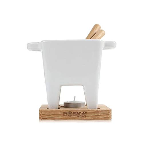 BOSKA Tea Light Tapas Fondue Set for Cheese or Chocolate, Life Collection, White